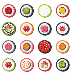 Set of type seafood roll japanese food sushi vector
