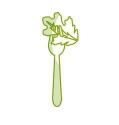 Silhouette fresh leaf lettuce in the fork utensil vector