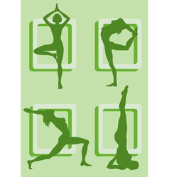 Silhouettes of girls doing yoga vector