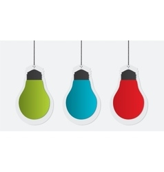 Three colorful paper bulbs vector