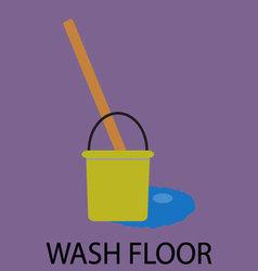 Wash floor icon flat design vector