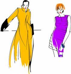 yellow purple fashion girl vector image vector image