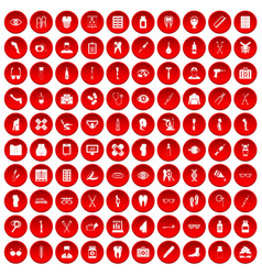 100 pharmacy icons set red vector