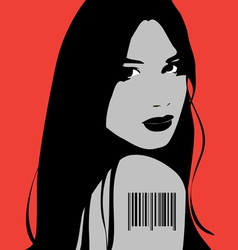 Girl with barcode tatoo vector image
