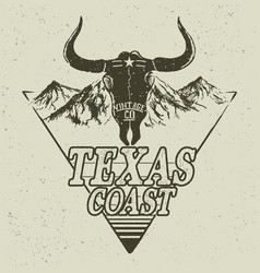 Western logo with bull head vector