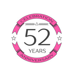 Realistic fifty two years anniversary celebration vector