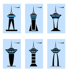 Control tower icons vector