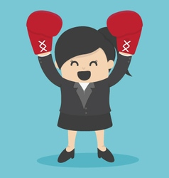 Business woman in a suit and boxing gloves vector