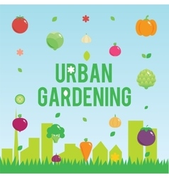 Urban gardening with vegetables icons set seeds vector