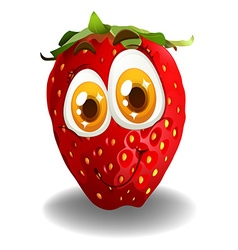 Strawberry with smiling face vector