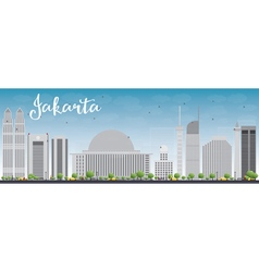 Jakarta skyline with grey landmarks and blue sky vector