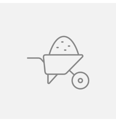 Wheelbarrow full of sand line icon vector