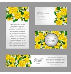 Cards with yellow daffodils and sample text vector