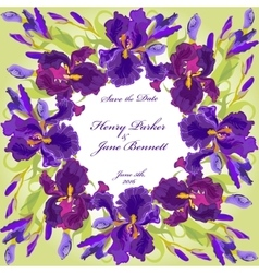 Wedding card with purple iris flower wreath vector image