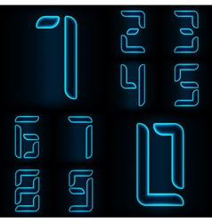 Neon numbers blue vector