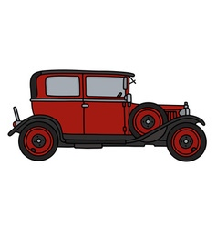 Vintage red small car vector