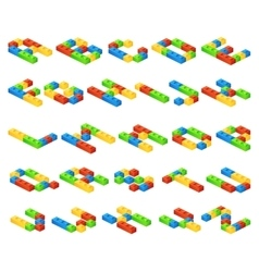 Isometric 3d alphabet letters made of vector