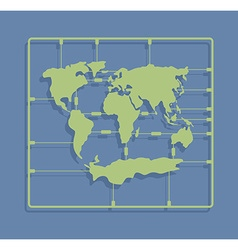 World map sprue or injection molding toy earth vector
