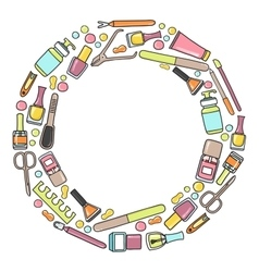 Circular doodle of manicure vector