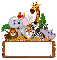Funny animal cartoon collection with blank board vector