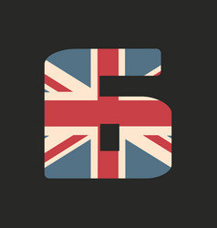 capital number six with uk flag texture isolated vector image