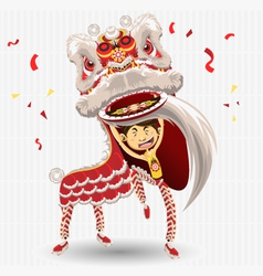 chinese lion dancing vector image