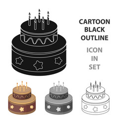 chocolate cake with stars icon in cartoon style vector image vector image