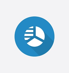 Circle diagram flat blue simple icon with long vector