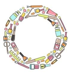 Circular doodle of manicure vector