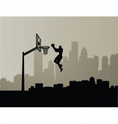 cityscape slam dunk vector image vector image