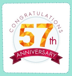 Colorful polygonal anniversary logo 3 057 vector