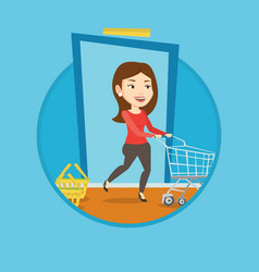 customer running into the shop with trolley vector image