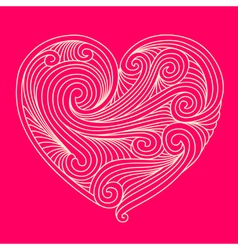 Decorative white heart on pink background vector