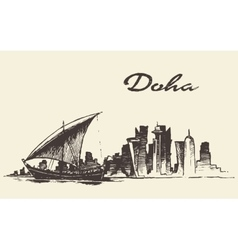 Doha skyline Dhow Qatar hand drawn sketch vector image