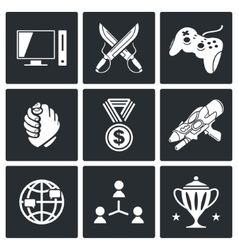 Electronic sports icons set vector