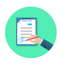 Flat document signing icon vector