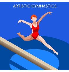 Gymnastics balance beam 2016 summer games 3d vector