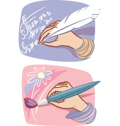 hands with feather and brush vector image vector image