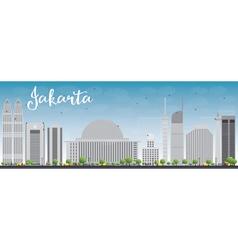 Jakarta skyline with grey landmarks and blue sky vector