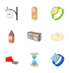 Kinds of watches icons set cartoon style vector