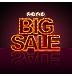 Neon sign big sale open vector