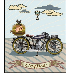 Retro banner with a cup of coffee and motorcycle vector