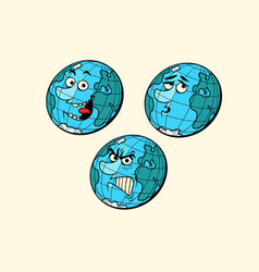 set emotions planet earth characters vector image vector image