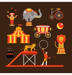 Set of circus artists acrobats and animals vector