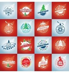 set of logo Christmas vector image