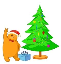 teddy bear and christmas tree vector image vector image