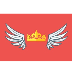 Wings with crowns vip club logo vector