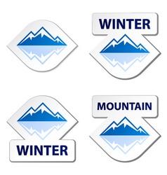 Winter blue mountain stickers vector