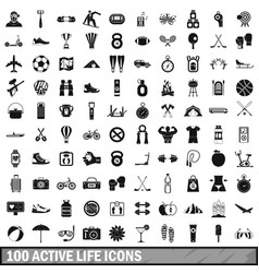 100 active life icons set in simple style vector image vector image