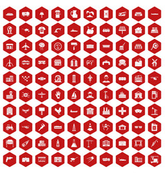 100 industry icons hexagon red vector